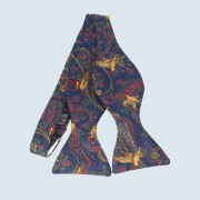 Fine Silk Pheasant Paisley  Self Tie Bow tie in Navy