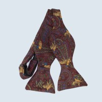 Fine Silk Pheasant Paisley Self-tie Bow tie in Red
