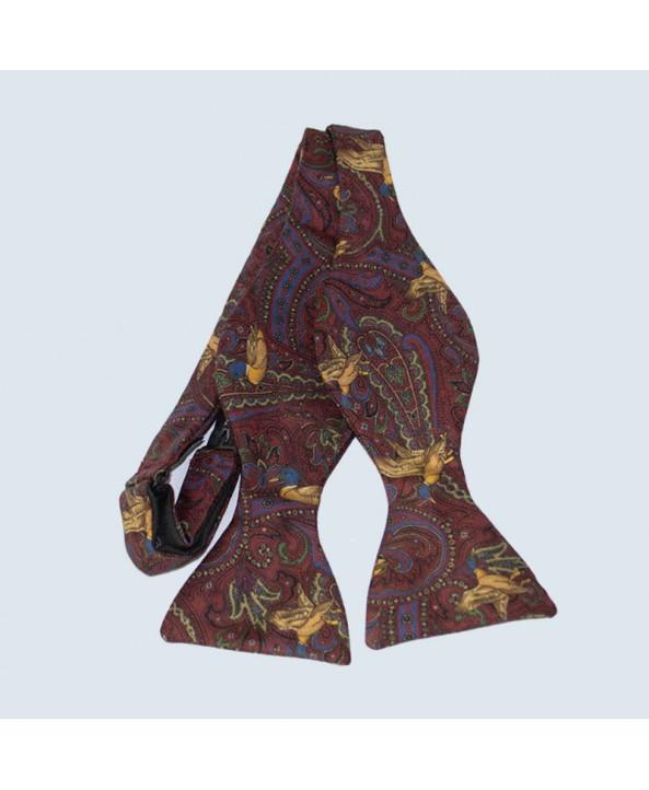 Fine Silk Pheasant Paisley Self-tie Bow tie in Red