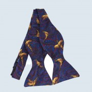 Fine Silk Pheasant Design Paisley Self-tie Bow tie in Navy