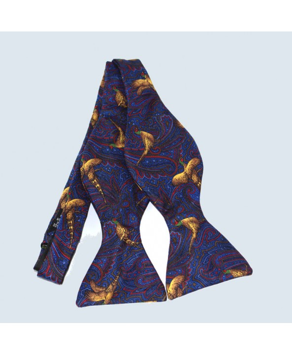Fine Silk Pheasant Design Paisley Self-tie Bow tie in Navy