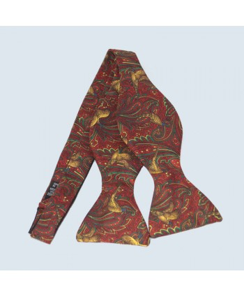 Fine Silk Pheasant Design Paisley Self-tie Bow tie in Red