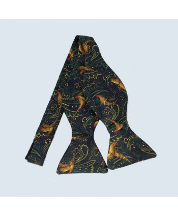 Fine Silk Pheasant Paisley Self-tie Bow tie in Green
