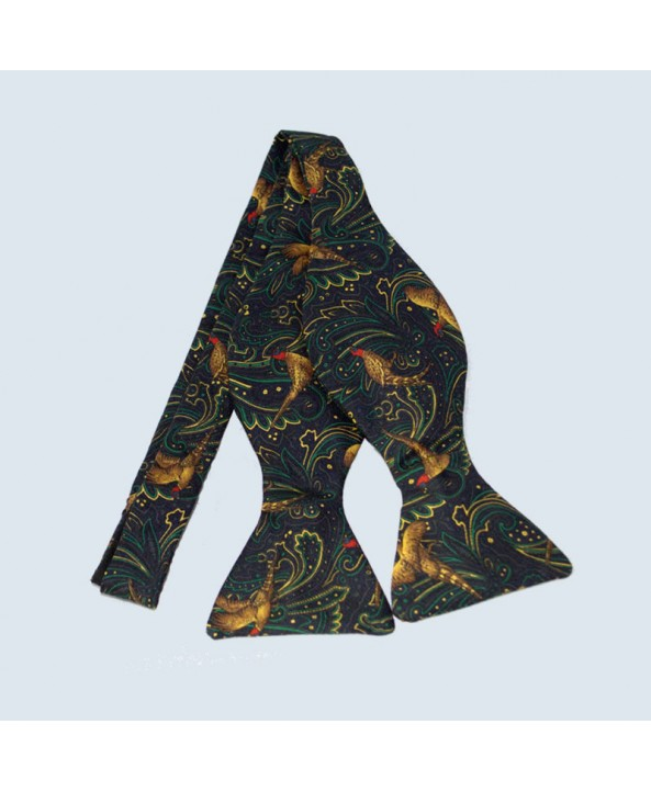 Fine Silk Pheasant Paisley Self-tie Bow tie in Green