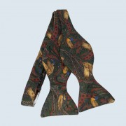 Fine Silk Pheasant Paisley Self-tie Bow tie in Rust Red