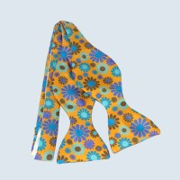 Fine Silk Abstract Floral Design Self-tie Bow tie in Yellow