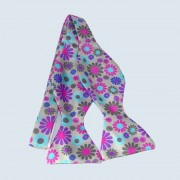 Fine Silk Abstract Floral Design Self-tie Bow tie in Grey
