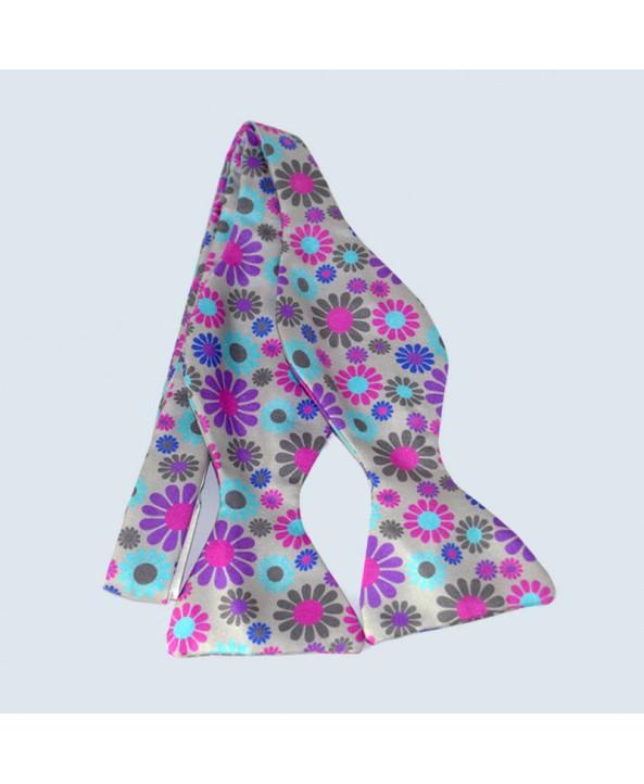 Fine Silk Abstract Floral Design Self-tie Bow tie in Grey