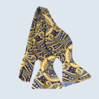 Fine Silk Ornate Paisley Design Self-tie Bow tie in Yellow