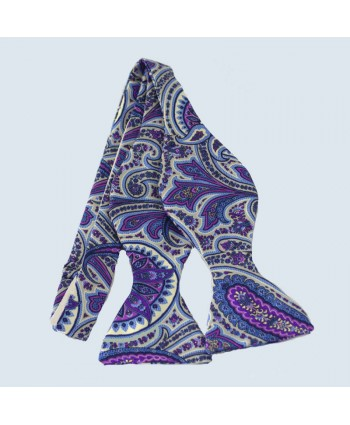 Fine Silk Ornate Paisley Design Self-tie Bow tie in Violet