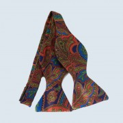 Fine Silk Classic Paisley Design Self-tie Bow tie in Red