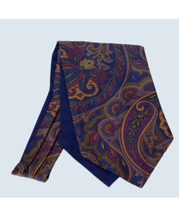 Fine Silk Paisley Cravat in Navy