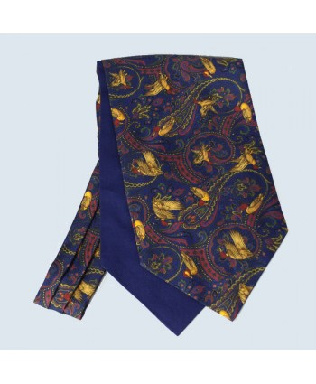 Fine Silk Duck Design Paisley Cravat in Navy