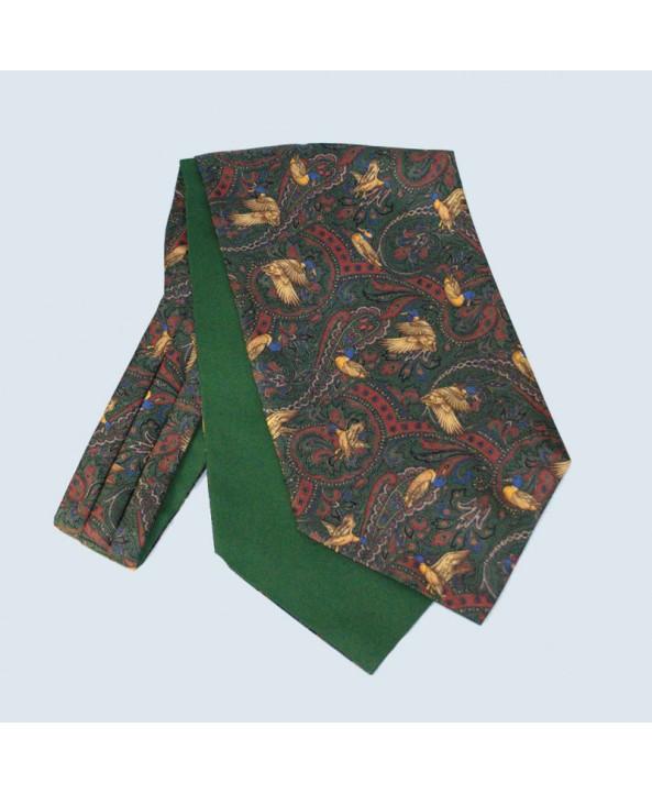 Fine Silk Duck Design Paisley Cravat in Green