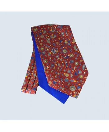 Fine Silk Festive Floral Cravat in Red