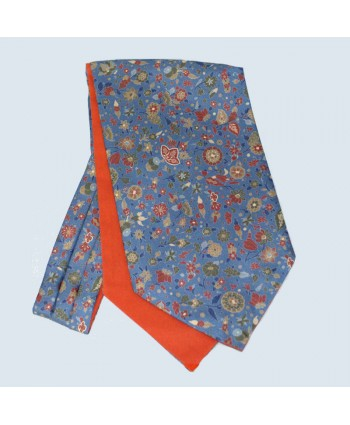 Fine Silk Festive Floral Cravat in Teal