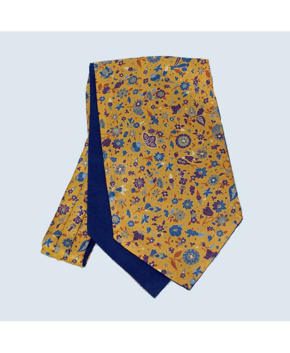 Fine Silk Festive Floral Cravat in Gold