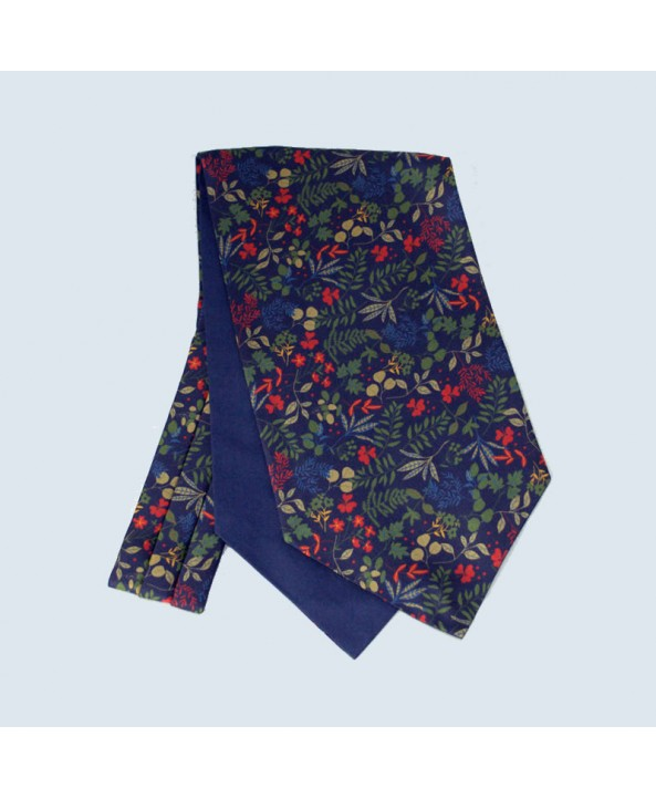 Fine Silk Leaf Design Cravat in Navy
