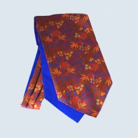 Fine Silk Leaf Design Cravat in Red