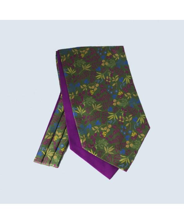 Fine Silk Leaf Design Cravat in Olive Green