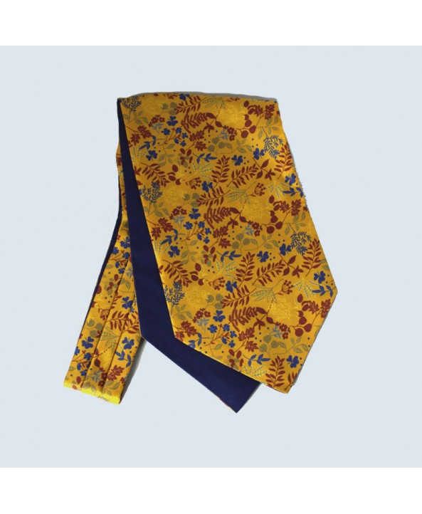 Fine Silk Leaf Design Cravat in Gold