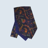Wool Cotton Paisley Design Cravat in Navy