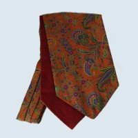 Wool Cotton Paisley Design Cravat in Red