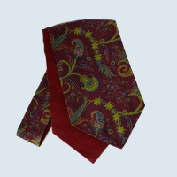 Wool Cotton Paisley Design Cravat in Wine Red
