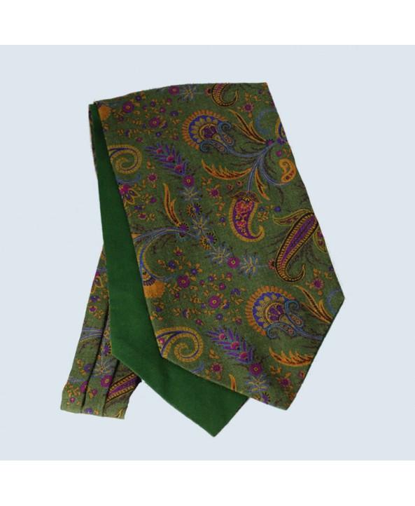 Wool Cotton Paisley Design Cravat in Green