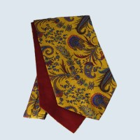 Wool Cotton Paisley Design Cravat in Gold