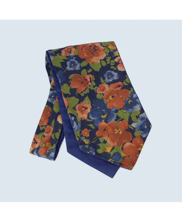 Wool Cotton Abstract Floral Design Cravat in Navy