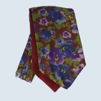 Wool Cotton Abstract Floral Design Cravat in Wine Red