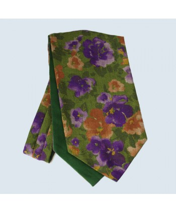 Wool Cotton Abstract Floral Design Cravat in Green