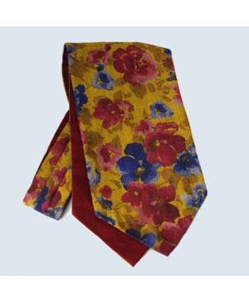 Wool Cotton Abstract Floral Design Cravat in Gold