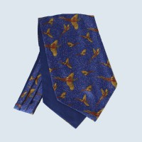 Fine Silk Speckled Pheasant and Paisley Pattern Cravat in Blue