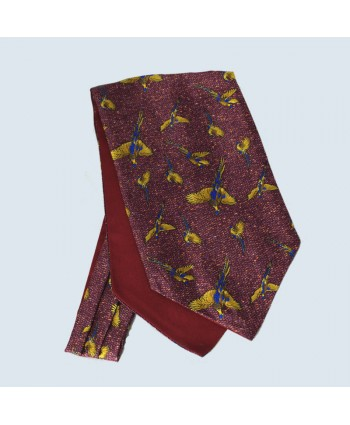 Fine Silk Speckled Pheasant and Paisley Pattern Cravat in Wine Red