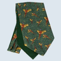Fine Silk Speckled Pheasant and Paisley Pattern Cravat in Green