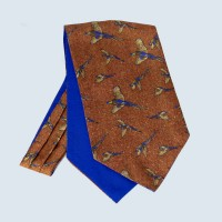 Fine Silk Speckled Pheasant and Paisley Pattern Cravat in Copper