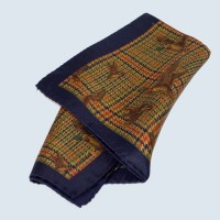 Fine Silk Fancy Duck Design Handkerchief with a Navy Frame