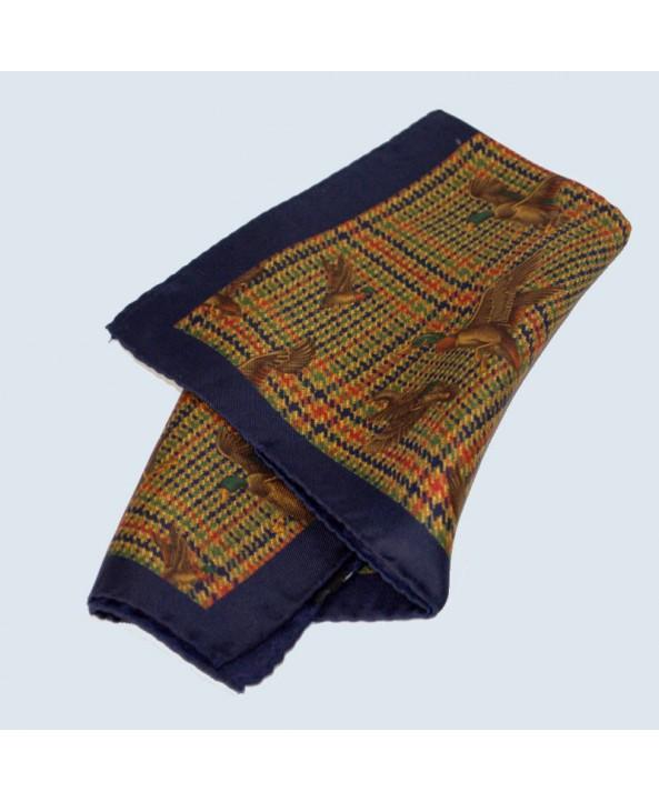 Fine Silk Fancy Duck Design Handkerchief with a Navy Frame