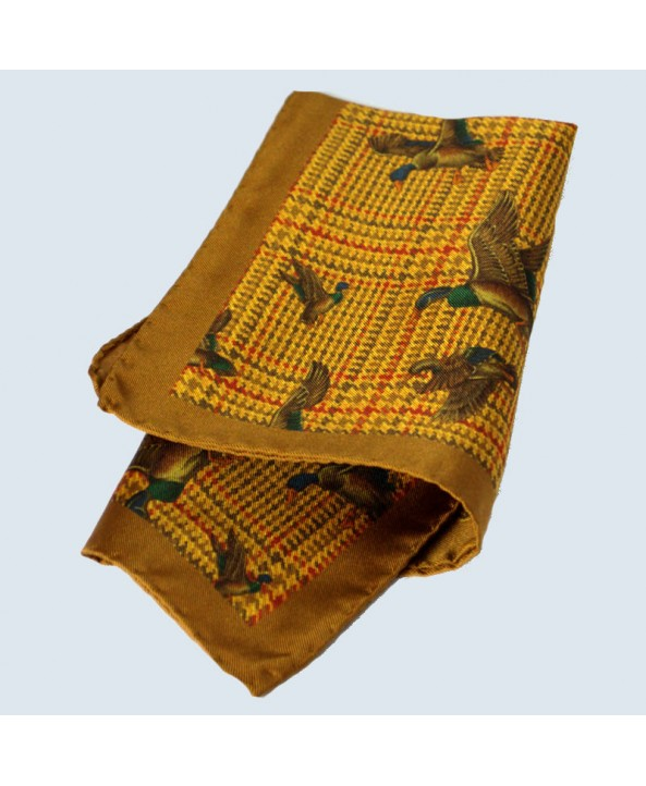 Fine Silk Fancy Duck Design Handkerchief with a Golden Frame