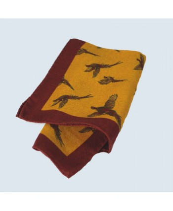 Fine Silk Flying Pheasant Design Handkerchief with a Red Frame