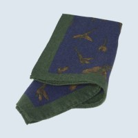 Fine Silk Flying Pheasant Design Handkerchief with a Green Frame