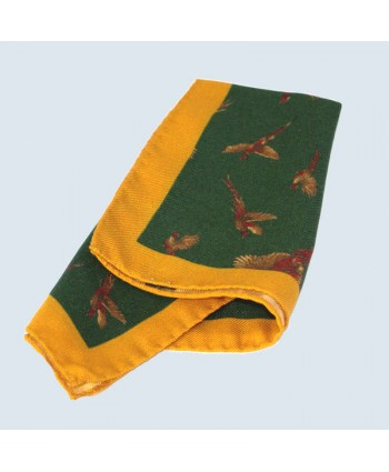 Fine Silk Flying Pheasant Design Handkerchief with a Yellow Frame