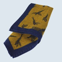 Fine Silk Flying Pheasant Design Handkerchief with a Navy Frame