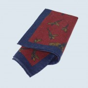 Fine Silk Flying Pheasant Design Handkerchief with a Blue Frame