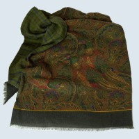 Fine Silk and Wool Pheasant Pasiley Design on Dark Green