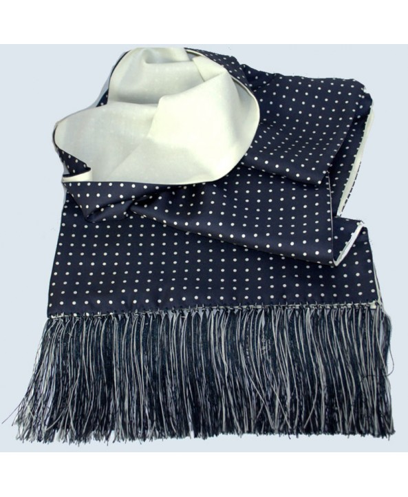 Fine Silk Knotted Fine Silk White Spotted Scarf in Navy