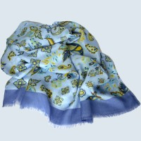 Cashmere Feel (MODAL) Whimsical Design Scarf in Light Blue