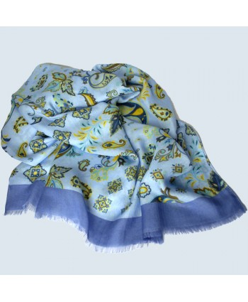 Cashmere Feel (MODEL) Whimsical Design Scarf in Light Blue